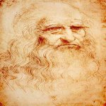 Leonardo da Vinci (1452 - 1519)  Self-Portrai  Red chalk on paper,circa 1512-1515  33 &#215; 21.6 cm, 13 &#215; 8.5 in  Biblioteka Reale, Turin, Italy
